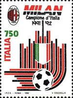 # ITALIA ITALY - 1992 - Milan Winner - Calcio Football Soccer Sport Stamp MNH
