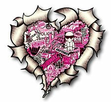 Metal RASGADO RASGADO Look Corazón Con Rosa JDM Estilo Stickerbomb Pegatina de vinilo coche