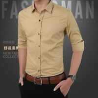 Fashion Mens Slim Shirt Tops Lapel Long Sleeve Business Office Tops Blouse