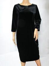 Chico's Black Velvet 3/4 Sleeve Scoop Neck Shift Dress Size 3 XL