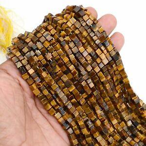 AAA+100% Natural Gemstone Tiger Eye Cube Beads Handmade 13 Inch 1 Strand Z31