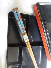 BENTO BOX + KOI CHOPSTICKS pond lid boxes JAPAN blue red fish design bamboo set