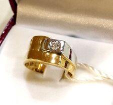 ANELLO UOMO oro giallo e bianco  + br.  0.10   oro 750/000  18KT  Gr. 7.50