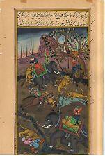 Mughal Empire Historical Royal Hunting Miniature Paper Painting Watercolor Decor