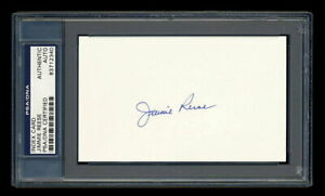 JIMMIE REESE SIGNED INDEX CARD MINT PSA/DNA SLABBED AUTOGRAPHED YANKEES ANGELS