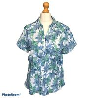 Autonomy Green White Blue Short Sleeve Floral Shirt Blouse Top Button Up Size 20