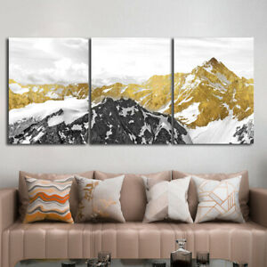 Abstract Golden Snow Mountain Print Posters On Canvas Painting Cuadros Wall