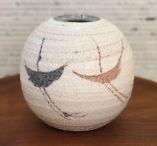 Vintage Shino Originals Pottery Vase Mino Ware Japan Shino Glaze Abstract Bird