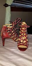 Nine West Sandal Heels 11M Red Leather Snake Skin Lace Ups