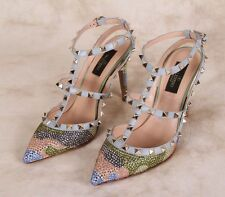 New VALENTINO Camouflage Strass Crystals Rockstud Heel Pump Shoes 38 / 8 US