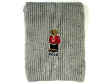 Polo Ralph Lauren Polo Bear Scarf Gray Heather Cotton Blend NWT