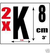 lot 2 lettres [K] Sticker autocollant noir hauteur 8cm Lettre adhésive en vinyle