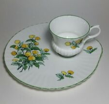Vtg Crown Staffordshire Cornwall Snack Luncheon Set Plate & Cup Yellow Green