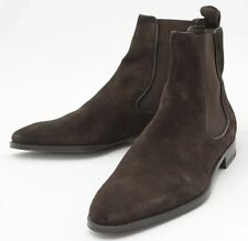 New Handmade Mens Dark Brown Chelsea Suede Leather Boots, Men suede leather boot