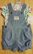 CARTER'S BABY GIRL 2 PIECE SET - SIZE 6 MONTHS - BLUE OVERALLS WITH FLORAL SHIRT