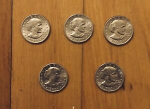 5 (Five) 1980 US Susan B Anthony $1 Dollar Coins - Silver Colored One Dollar SBA