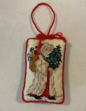 Vintage Completed Cross Stitch Christmas Ornament Victorian Santa with Tree