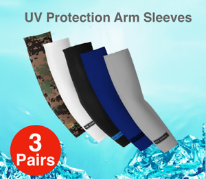 3 Pairs Outdoor Arm Stretch Sleeves Sun Block UV Protection Covers Cooling Sport