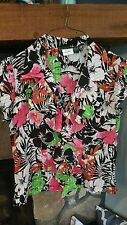 Women's Blouse Size 8P Black White Hot Pink Lime Green Very Pretty Colors cute