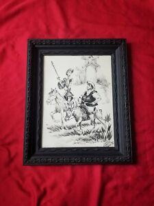 Vintage 70s José López Canito Watercolor Don Quixote/Sancho Panza drawing Framed