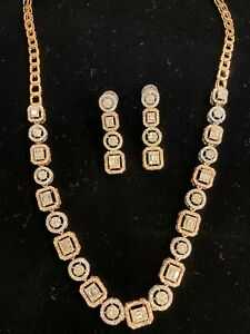 5.18 Cts Round Baguette Cut Diamonds Necklace Earrings Set In 585 Solid 14K Gold