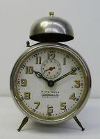 Antiker gr. Glockenwecker mechanischer Junghans Wecker Uhr Werbe Tischuhr ~ 1900