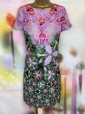 Ted Baker 'eoessa' impresionante Rosa/Verde Túnica Floral Vestido Talla 3 Reino Unido 12-14