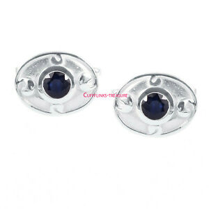 Natural Blue Sapphire Gemstone with 925 Sterling Silver Cufflinks For Men's