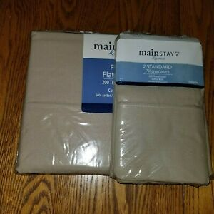 MAINSTAYS NEW IN PACKAGE DOUBLE FULL FLAT  SHEET 2 STANDARD PILLOW CASES