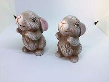 Bisque/Ceramic Set of 2 Bunnies Hand Painted Rabbits Easter Garden