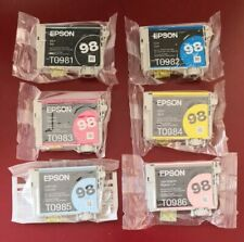 6 New Genuine Epson 98 High-capacity Ink T0981-T0986 Artisan 810/835/725/730/837