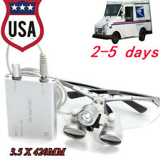 Dental 3.5*420mm Surgical Medical Binocular Loupes+ Dental LED light  silver USA