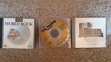 3 Computer Software Discs 1999 World Book, Trip Routing, Bookshelf Cd Rom