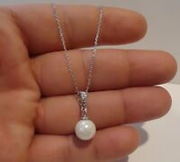 925 STERLING SILVER NECKLACE PENDANT W/ 10MM WHITE PEARL &  DIAMOND/ 17 INCH