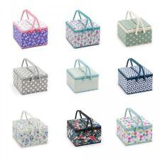 Hobbygift Sewing Box Twin Lid  Square Knitting Sewing Basket Craft