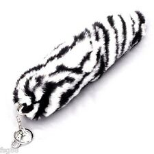 New Fox Zebra Fur Faux Tassel Tail Keychain Purse Rings