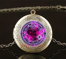 Magic Circle Pentagram Cabochon Glass Brass Locket Pendant Necklace#Q34