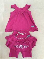 Naartjie Kids Girl Outfit Set 3-6 Month Top Pants With Ruffles Purple