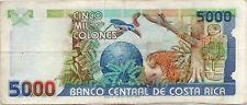 1995 Costa Rica 5000 Colones VF RARE A SERIAL TYPE
