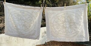 Columbine Cody White Chenille Pillow Shams Set of 2 French Country 100% Cotton