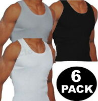 New Mens 6 Pack Vests  Pure Cotton Gym Top Summer Training S M L XL 2XL