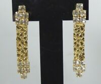 Vintage Gold Tone Nugget Link Pierced Earrings With Clear Rhinestones Dangle
