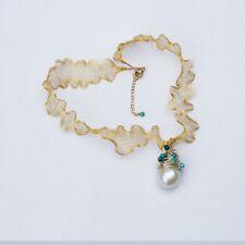 Natural White 16x22mm Kasumi Baroque pearl pendant w/unique magic necklace DL201