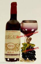 Magnet Bouteille de Vin Rouge MARGAUX MERLOT verre ballon aimant grappe raisin