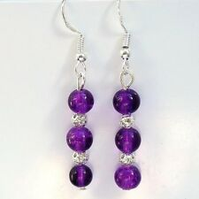Purple Glass Earrings With Sterling Silver Hooks New Pair Drops LB114