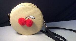 TYPO, Round, Cherry Pom-poms Embroidered, Womens Handbag, Black Strap