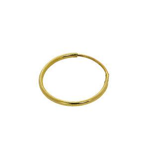 375 Real 9ct Gold 10mm Lightweight Nose Ring Sleeper Hoop Rings Hoops Piercing