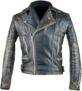 Men's Antique Retro 2 Biker Cafe Racer Vintage Distressed Black Rugged Leather M