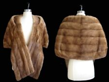 Brown MINK Fur Stole , Autumn Haze Bridal Shawl , Glamorous Vintage Coat Jacket