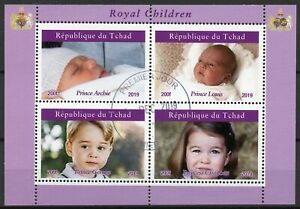 Chad Royalty Stamps 2019 CTO Royal Children Prince Archie George Louis 4v M/S